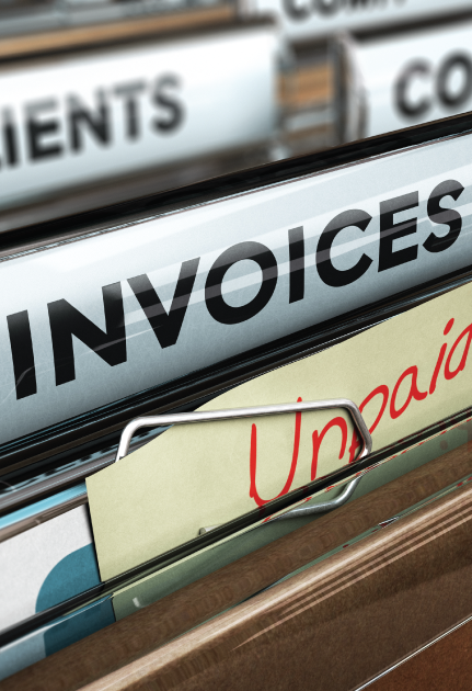 Unpaid invoices in filing cabinet that can be factored